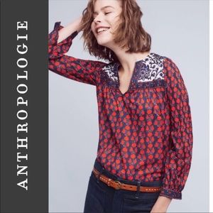 Anthropologie Pepin L Long Sleeve Shirt Print Top